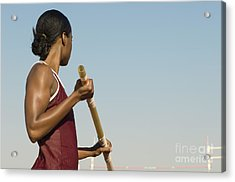 Female Athlete Preparing For Pole Jump Acrylic Print