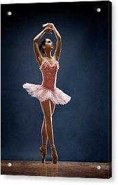 Female Ballet Dancer Dancing Acrylic Print by David Sacks