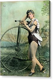 Female Circus Performer With Bicycle Acrylic Print by Bettmann