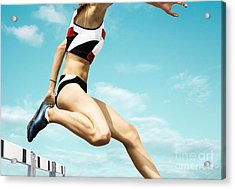 Female Hurdle Runner Leaping Over The Acrylic Print
