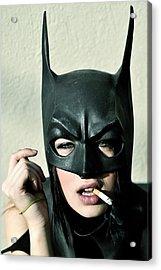 Female Model Smoking With Batman Mask Acrylic Print