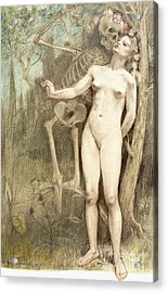 Female Nude With Death As A Skeleton, 1897  Acrylic Print