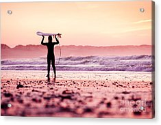 Female Surfer On The Beach At The Sunset Acrylic Print