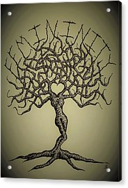Acrylic Print featuring the drawing Femininity Love Tree B/w by Aaron Bombalicki
