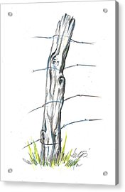 Fence Post Colored Pencil Sketch  Acrylic Print
