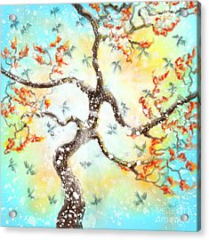 Feng Shui Your Life - 100 Birds Acrylic Print by Remy Francis