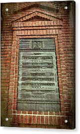 Acrylic Print featuring the photograph Fenway Park Bronze Plaque by Joann Vitali