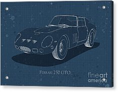 Ferrari 250 Gto - Front View - Stained Blueprint Acrylic Print