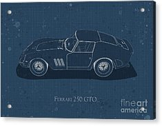 Ferrari 250 Gto - Side View - Stained Blueprint Acrylic Print