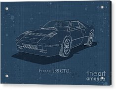 Ferrari 288 Gto - Front View - Stained Blueprint Acrylic Print
