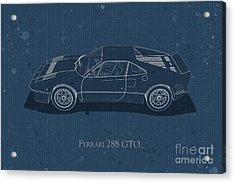 Ferrari 288 Gto - Side View - Stained Blueprint Acrylic Print