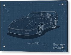 Ferrari F40 - Front View - Stained Blueprint Acrylic Print