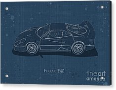 Ferrari F40 - Side View - Stained Blueprint Acrylic Print