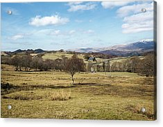 Fields And Farmhouse, North Wales Acrylic Print