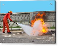 Fighting Fire During Training Acrylic Print by Yutthaphong