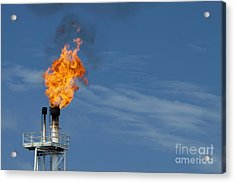 Fire On Rig In The Gulf Of Thailand Acrylic Print