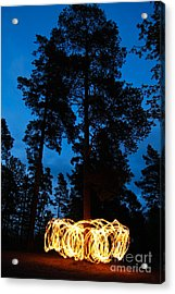 Fire Spinning At Night In Forest Acrylic Print