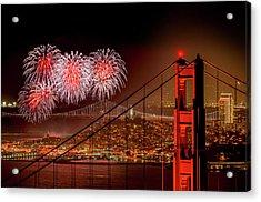 Firework At San Francisco, California Acrylic Print by Spondylolithesis