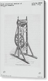 First Electrical Machine Of Benjamin Acrylic Print by Kean Collection