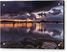First Light With Heavy Rain Clouds On The Bay Acrylic Print