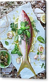 Fish Being Prepared Of Bbq With Herbs Acrylic Print