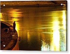 Fisherman At The Danube Canal Acrylic Print