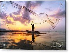 Fisherman Of Bangpra Lake In Action Acrylic Print