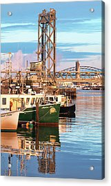 Fishing Boats And Bridges Acrylic Print by Eric Gendron