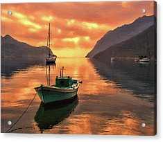 Fishing Boats At Sunset Simi Greek Islands-dwp40406001 Acrylic Print