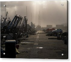 Fishing Boats Moored In The Harbor Acrylic Print