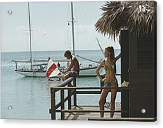 Fishing On Honeymoon Porch Acrylic Print by Slim Aarons