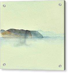 Fiske I Morgondis Hunnebo Vaestkusten   Fishing In Morning Haze Hunnebo Swedish Archipelago 76x73cm  Acrylic Print