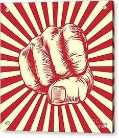 Fist Punching In A Vintage Propaganda Acrylic Print