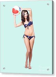 Fit And Active Girl In Bikini With Beach Ball Acrylic Print
