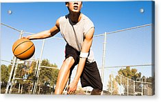 Fit Male Playing Basketball Outdoor Acrylic Print by Pkpix