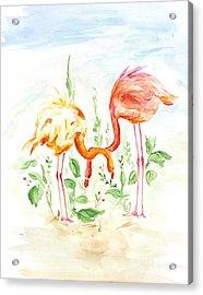 Flamingo Couple - Watercolor Acrylic Print