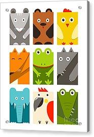 Flat Childish Rectangular Animals Set Acrylic Print
