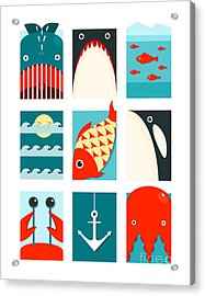 Flat Sea And Fish Rectangular Nautical Acrylic Print