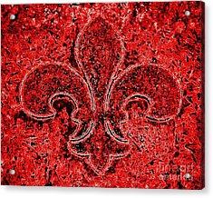 Fleur De Lis Red Ice Acrylic Print