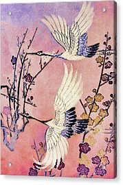 Flight Of The Cranes - Kimono Series Acrylic Print