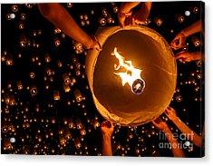 Floating Lantern, Yi Peng,firework Acrylic Print