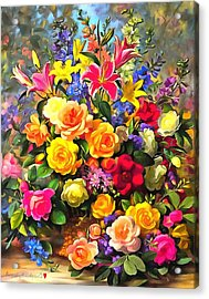 Floral Bouquet In Acrylic Acrylic Print