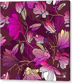 Floral Seamless Pattern With Drawing Acrylic Print