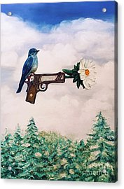 Flower In A Gun- Bluebird Of Happiness Acrylic Print