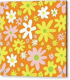 Flower Power Pattern Acrylic Print