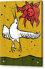 Flying Bird And Red Sun Face Acrylic Print
