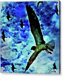 Acrylic Print featuring the painting Flying Seagulls by Joan Reese