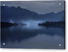 Fog On The Dark Mountain Lake Acrylic Print