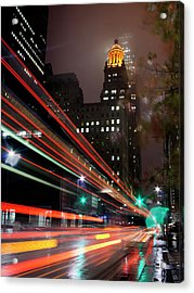 Foggy Night, City Lights Acrylic Print by Bill Barfield