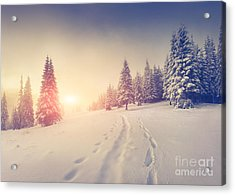 Foggy Winter Sunrise In The Mountains Acrylic Print